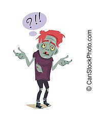 Zombie Character. Fictional Being Hesitating. - Zombie...