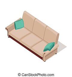 Beige Sofa Illustration in Isometric Projection - Sofa with...