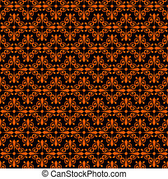 Halloween seamless pattern with abstract ornament in the...