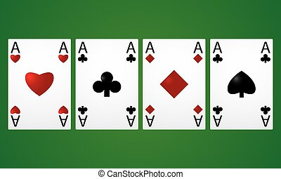 Four aces in a row on a green background