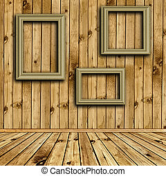 wooden interior with empty frames - Photo of empty natural...