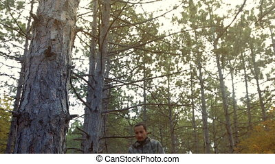 a man lost in the woods, stopped to rest, and went ahead
