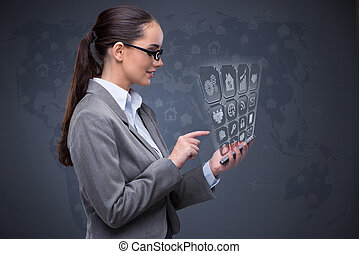 Businesswoman with mobile in business concept