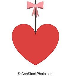 hanging heart with pink bow