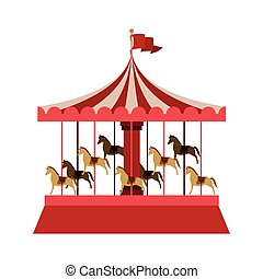 Merry Go Round with horses vector illustration