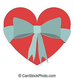 heart shaped box with blue gift ribbons