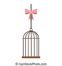 cage hanging with pink bow