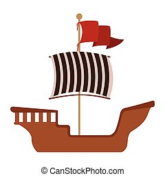 Wooden barge with red flag vector illustration