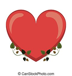 heart with border ivy of leaves