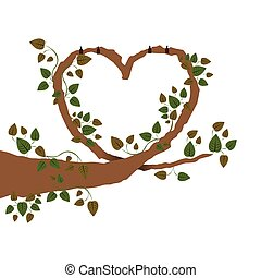 Branch with ivy in heart shape vector illustration