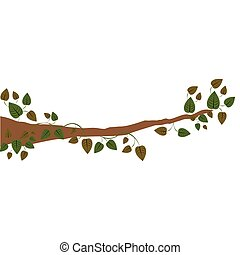 branch with ivy and leaves vector illustration