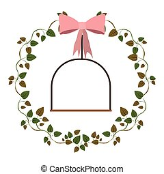 frame ivy leaves with swing vector illustration