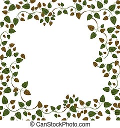 Floral circle frame with ivy and leaves vector illustration