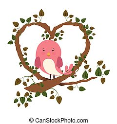 bird in branch with ivy in heart shape vector illustration