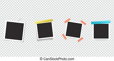 Blank Photo frame on scotch tape. Isolated transparent...