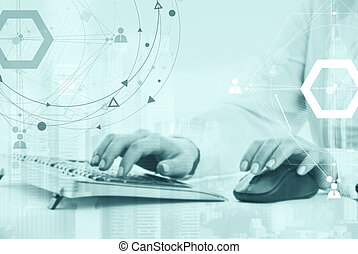 Business concept with particle and city background - Hands...