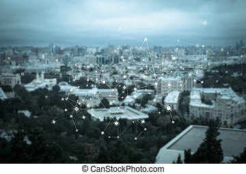 Abstract particle structure on the beautiful modern city...