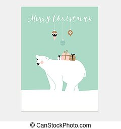 Cute Christmas greeting card, invitation with polar bear and gift boxes. Vector.