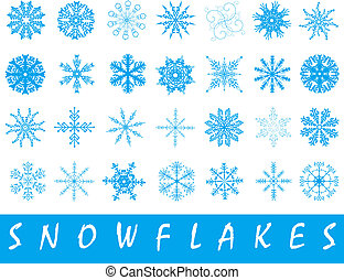 snowflakes - Set of different patterned 28 snowflakes over...