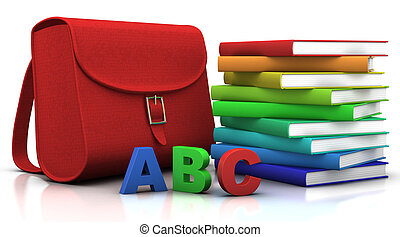 satchel and books - red satchel and stack of colorfull books...