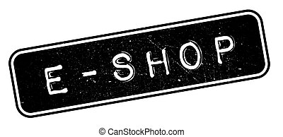E-Shop rubber stamp. Grunge design with dust scratches....