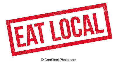 Eat Local rubber stamp. Grunge design with dust scratches....