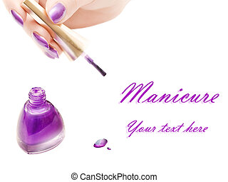manicure: nail polish and woman hand over white background...