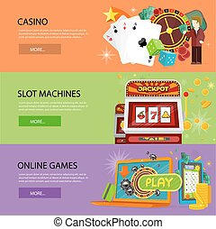 Set Of Gambling Vector Banners In Flat Design - Set of...