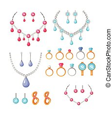 Beautiful Jewelry Accessories Icons Set - Beautiful jewelry...
