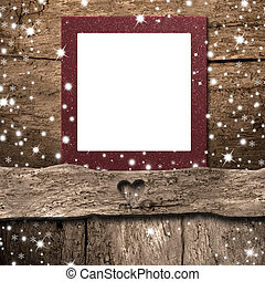 Christmas empty photo frame card. Copyspace.