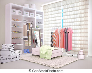 Bright room with a wardrobe and clothing. 3d illustration
