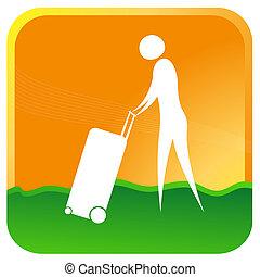 man with luggage trolley - human pushing luggage trolley