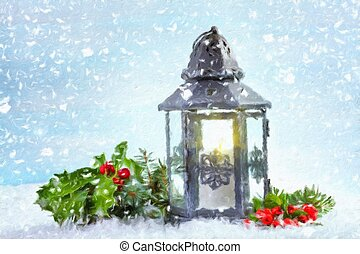 Christmas lantern with Holly leaves and berries. Oil painting effect.
