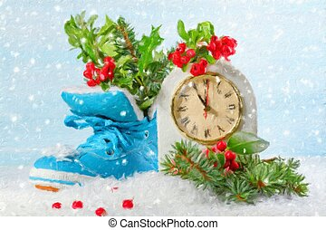 New Year clock with blue shoe and fir branches. Oil painting...