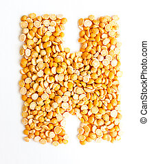 The Letter H. - The peas Initials letter H.