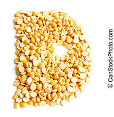 Letter D. - The peas Initials letter D.