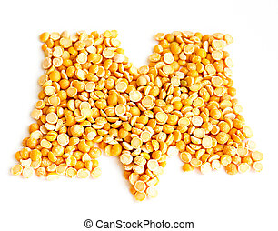The Letter M. - The peas Initials letter M.