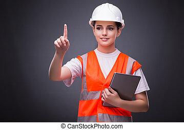 konstruktion, dator, Arbetare, ung, kompress