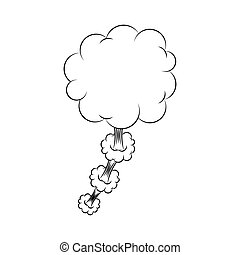 silhouette cloud callout with cumulus cloud vector...