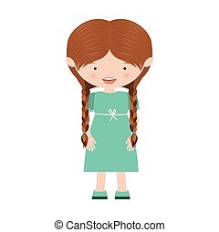 braids hair girl with blue dress vector illustration