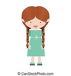 braids hair girl with blue dress vector illustration