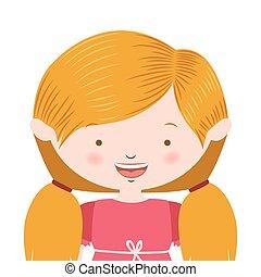half body blond pigtails hair girl vector illustration