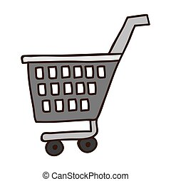 side view empty supermarket shopping cart vector...