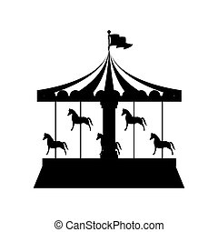 silhouette merry Go Round with horses vector illustration