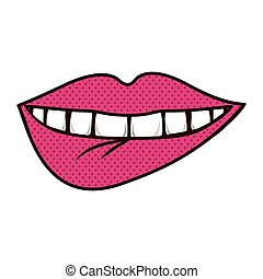 silhouette bite lips with teeths vector illustration