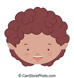 avatar front face brunette boy vector illustration