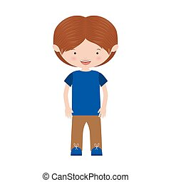 brown hair boy with informal suit vector illustration