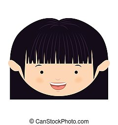 front face asian girl with short hair vector illustration