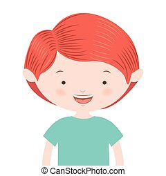 half body red hair boy vector illustration