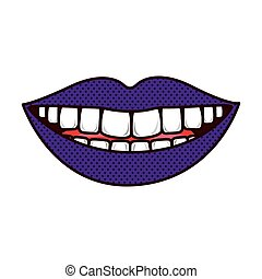 silhouette smiling lips with teeths and tongue vector...
